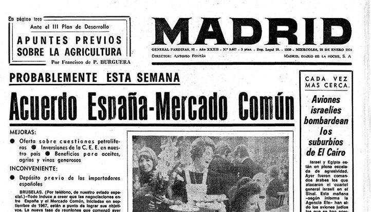 Cabecera del periódico vespertino Madrid, clausurado por la autoridades franquistas en 1971.