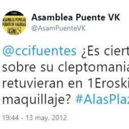 El 15-M ya tuiteó a Cifuentes por el robo en 2012