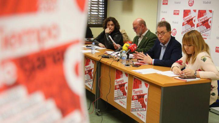 Rueda de prensa de los secretario generales de UGT Madrid y CCOO Madrid, Luis Miguel López Reillo y Jaime Cedrún.