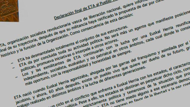 ETA anuncia su histórica disolución sin pedir perdón