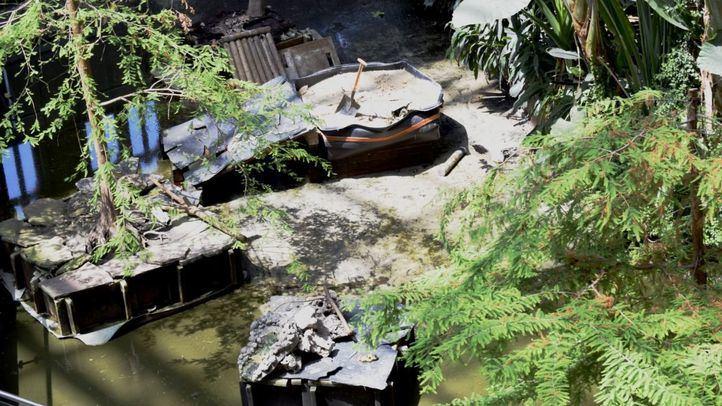 El estanque de Atocha, vallado después del traslado de las tortugas