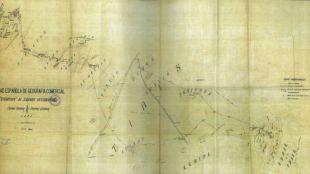 Mapa original de la expedición Cervera-Quiroga al Sáhara occidental.