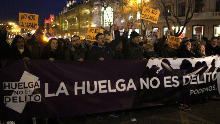 Manifestación contra la criminnalización del derecho a la huelga.