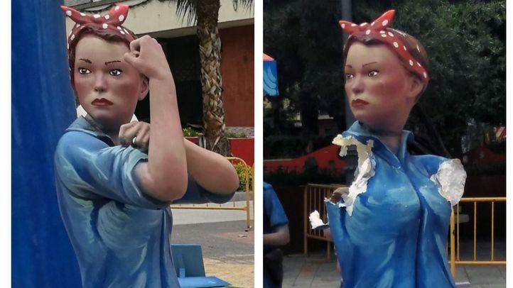 El ninot feminista, antes y después del ataque