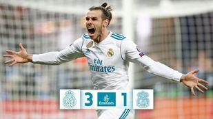 Bale celebrando uno de los dos tantos que han dado al Real Madrid la victoria frente al Liverpool