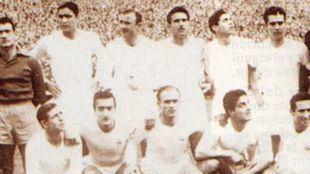 El once con el que el Real Madrid consiguió su tercera Copa de Europa consecutiva en Bruselas en el año 1958.
