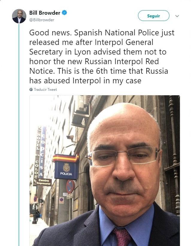 Detenido y puesto en libertad un empresario británico crítico con Putin sobre el que pesaba una orden de Interpol