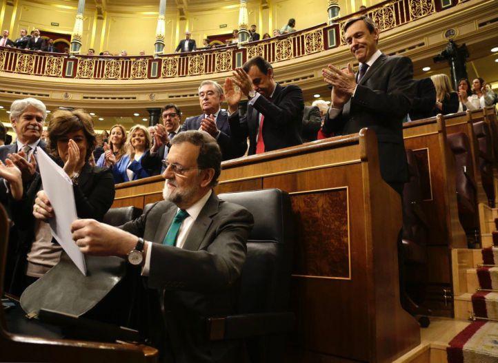 Mariano Rajoy, en la primera sesión de la moción de censura presentada por Pedro Sánchez.