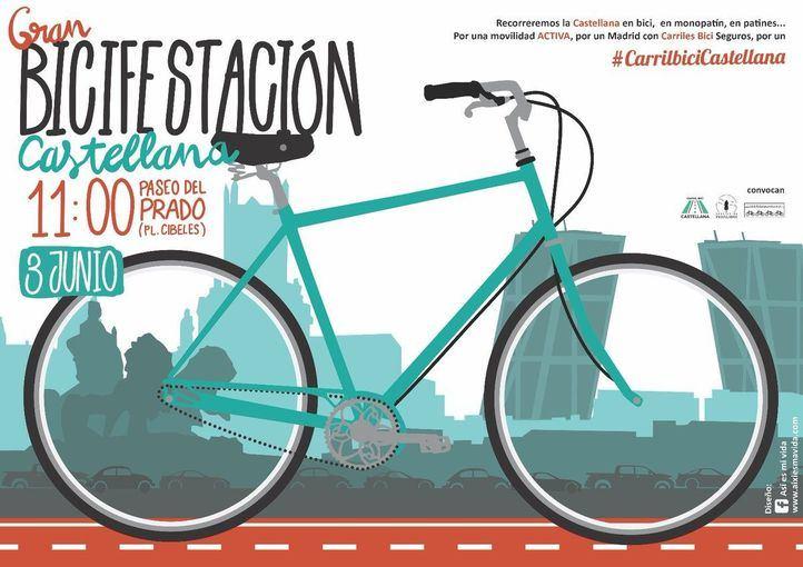 Marcha ciclista a favor de un carril bici en la Castellana