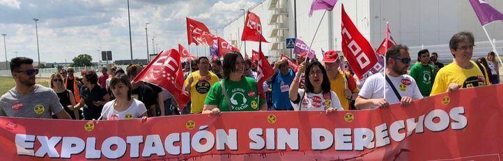 Manifestación por de los trabajadores de Amazon.