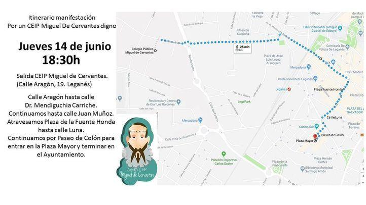 Ruta de la marcha por la reforma del CEIP Miguel de Cervantes