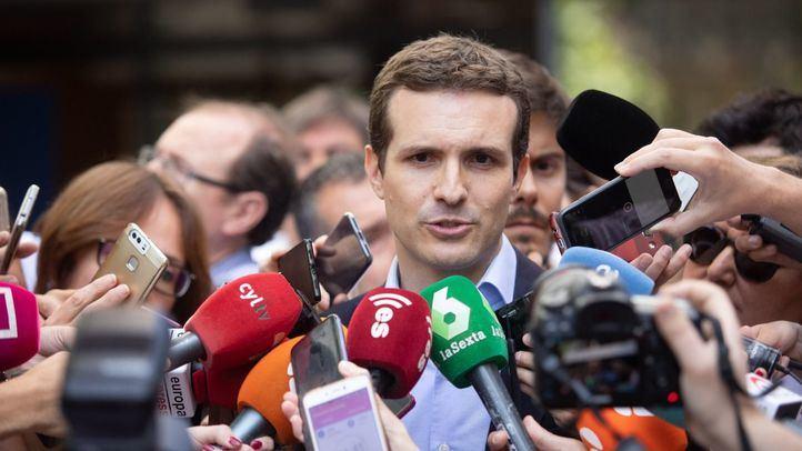 Pablo Casado comparece ante los medios de comunicación para aunciar su candidatura para presidir en Partido Popular.