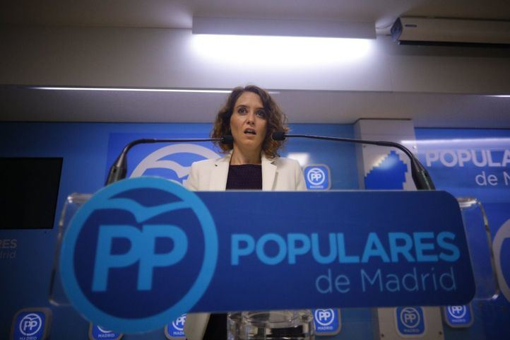 La vicesecretaria de comunicación del PP de Madrid, Isabel Díaz Ayuso, comparece ante los medios.