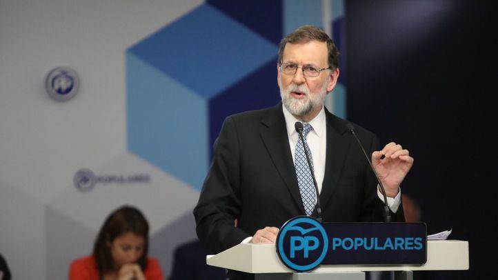 Mariano Rajoy, durante la comparecencia en la que confirmó su adiós a la política.
