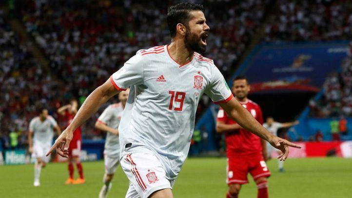 Diego Costa celebrando el gol contra Irán.
