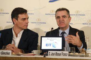 Pedro Sánchez y José Manuel Franco, en un reciente desayuno informativo en el Hotel Ritz.
