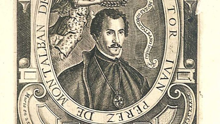 Estampa calcográfica procedente de Lágrimas panegíricas a la muerte del gran poeta Juan Pérez de Montalbán, Madrid, 1639