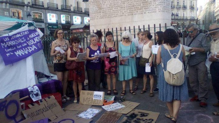 Acampada feminista en Sol que comenzó tras la libertad de La Manada.