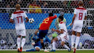 Isco, en el momento del gol contra Marruecos.