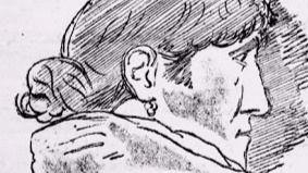 Dibujo de Higinia hecho por Pérez Galdós durante el juicio.