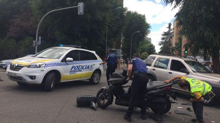 Imágenes posteriores al accidente de moto.