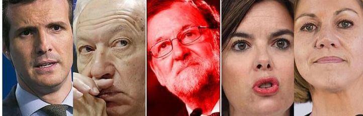 Casado, Margallo, Rajoy, Santamaría y Cospedal en fotos de archivo.