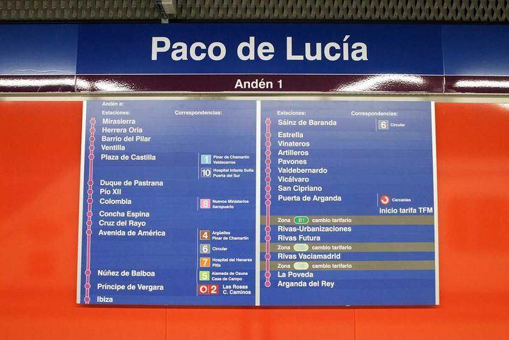 Plano de las estaciones de la línea 9.