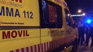 Los servicios de emergencias 112 en el lugar del atropello.