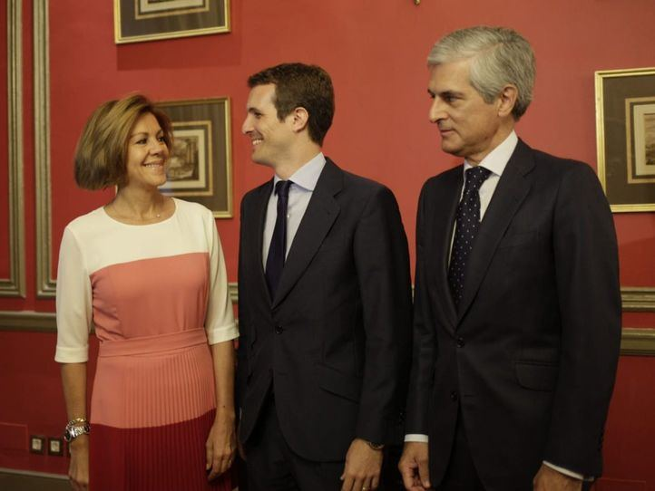 Cospedal y Casado en la conferencia-coloquio organizada por el Fórum Europa