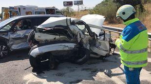 Estado de uno de los vehículos implicados en el accidente.