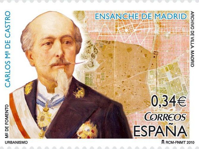 Sello conmemorativo al arquitecto Carlos María de Castro, quien creó el Ensanche de Madrid en 1859.