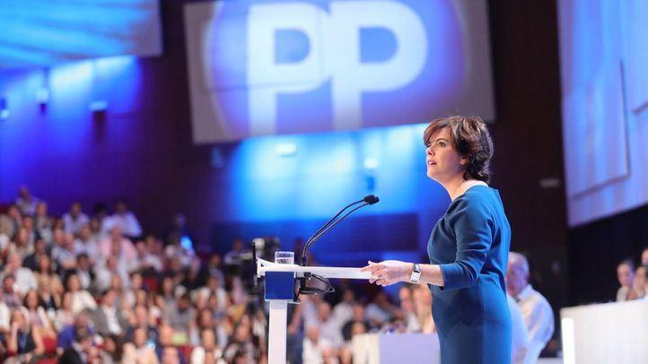 Soraya Sáenz de Santamaría, durante su discurso.