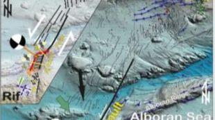 Esquema de las estructuras activas que originaron la serie sísmica de 2016-17 en el Mar de Alborán.