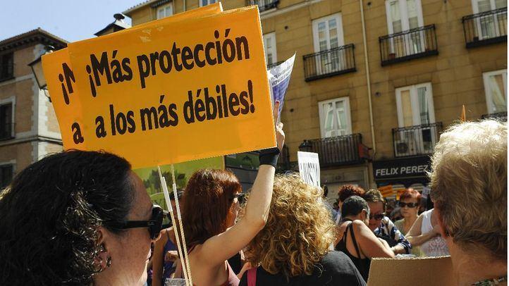 Concentración de apoyo a Juana Rivas que se hizo en Madrid al conocerse el caso.