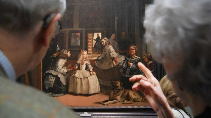 Las meninas de Velazquez en el museo del Prado. Reportaje edificio museo del prado