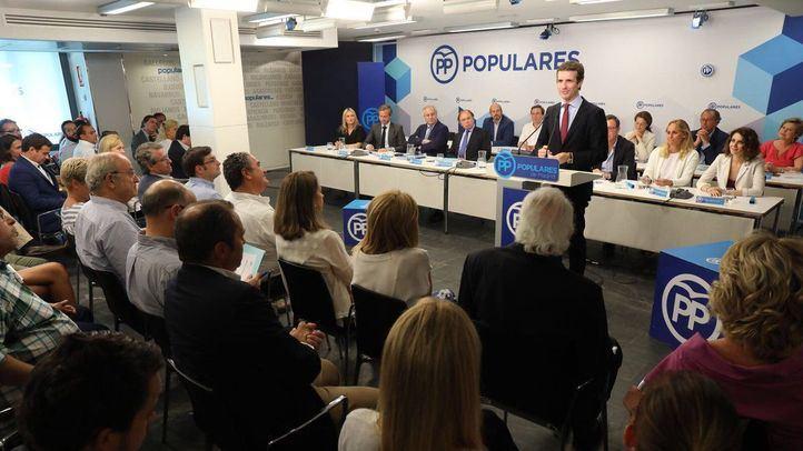 Pablo Casado interviene en la reunión de la Junta Directiva Autonómica del PP de Madrid.