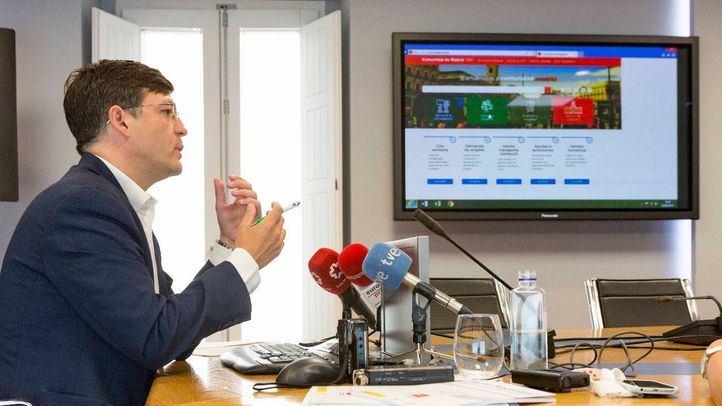 El Comisionado del Gobierno de la Comunidad de Madrid para la Cañada Real, Martínez Páramo, en la presentación de la página web del Pacto Regional.