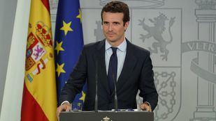 Pablo Casado, en una rueda de prensa en la Moncloa.