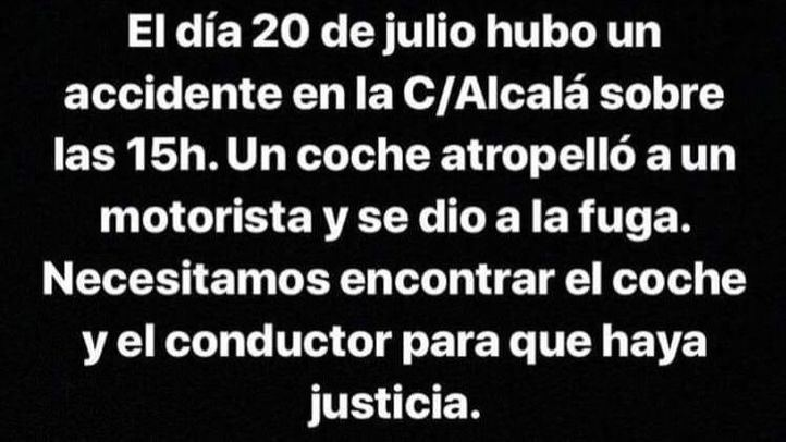 Mensaje transmitido por Instagram para encontrar testigos que ayuden a esclarecer un accidente mortal que le costó la vida a un joven de 21 años el pasado 20 de julio en la calle Alcalá.