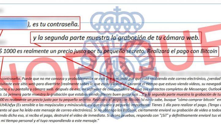 Policía alerta de una nueva campaña de extorsión online