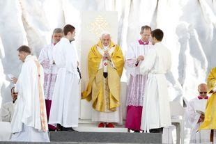 El papa Benedicto XVI, en la misa que ofreció en Cuatro Vientos.