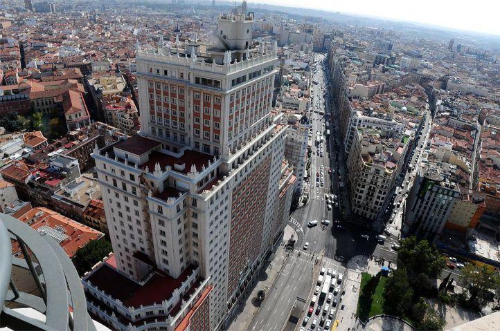 Vistas aéreas desde Torre Madrid, Edificio España y Gran Vía Anuario 2014