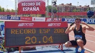 Hortelano, el 21 de julio, cuando consiguió el récord de los 200 metros.