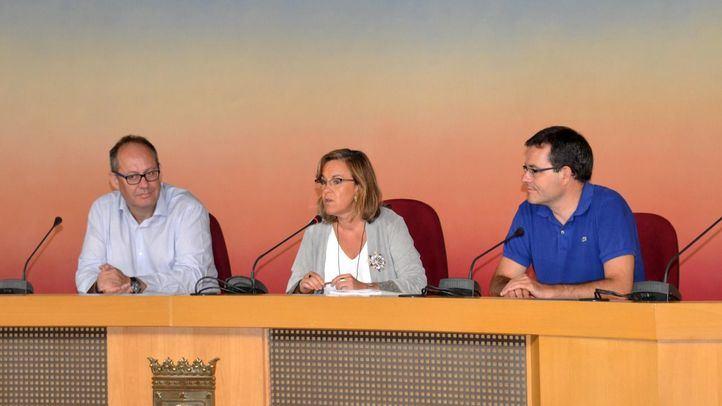 Los ediles Ramón Silva, Purificación Causapié y Chema Dávila.