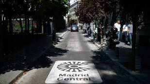 Señalización horizontal de Madrid Central.