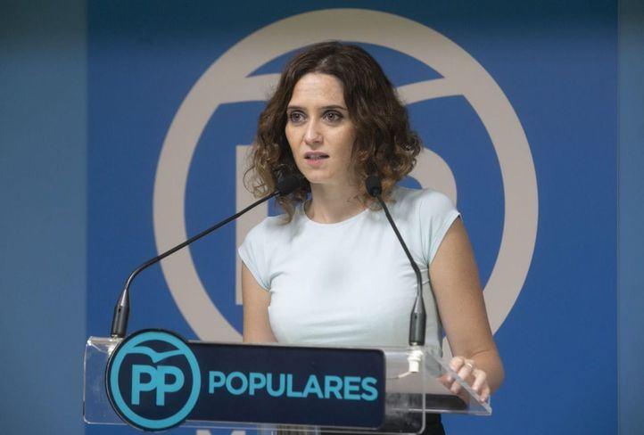 Isabel Díaz Ayuso, portavoz del PP de madrid, comparece después de la reunión de la Ejecutiva de su formación.