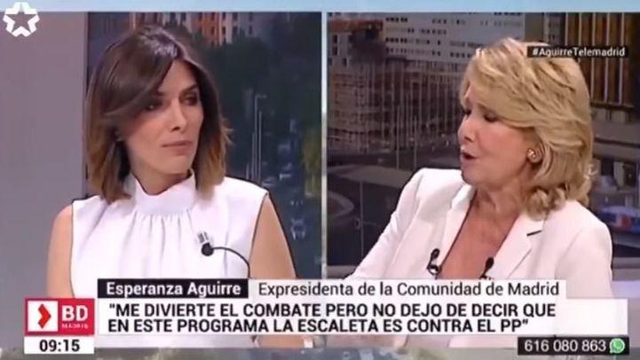 Esperanza Aguirre abandona el plató de Telemadrid en mitad de un programa