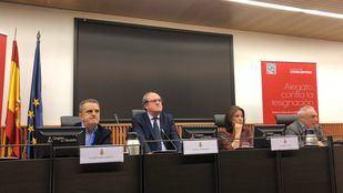 De izquierda a derecha: José Manuel Franco, secretario general del PSOE-M; Ángel Gabilondo, portavoz del PSOE en la Asamblea; Adriana Lastra, portavoz del PSOE en el Congreso; y Rafael Simancas, diputado.