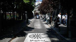 Señalética horizontal delimitando Madrid Central.