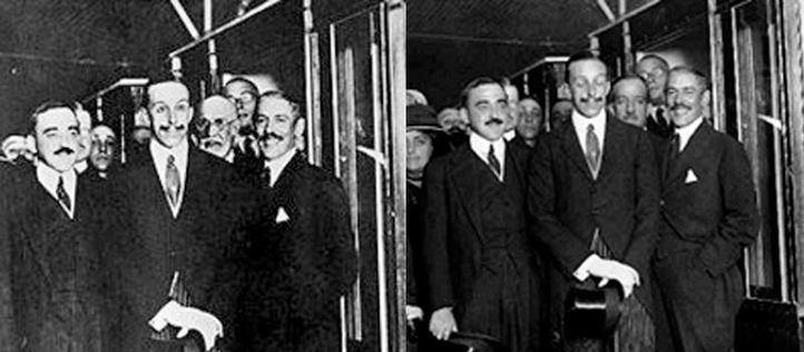 Fotos de la inauguración de la línea 1 de Metro: a la izquierda, la retocada; a la derecha, la real.